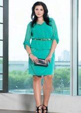 Зеленое платье для полных, скрывающее живот