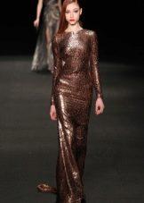 Блестящее коричневое платье