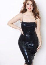 Коктейльное кожаное платье для полных