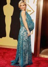 Зеленое праздничное кружевное платье для беременных