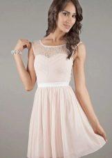 Молочное платье с гипюром