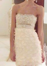 Короткое вечернее молочное платье