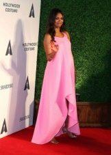 Нарядное розовое ассиметричное  свободное платье для беременных