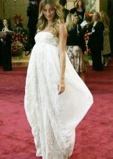 Праздничное белое платье из хлопка для беременных