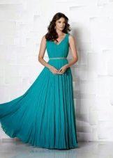 Платье с драпировкой цвета морской волны максимальной длины