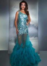 Вечернее длинное платье цвета морской волны с пайетками