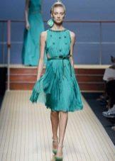 Платье-плиссе средней длины цвета морской волны
