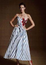 Платье двухцветное с диагональными полосами