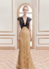 Кружевное платье с темным верхом