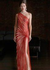Платье двухцветное с диагональными полосами в пол