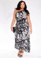 Асимметричное платье двухцветное для полных