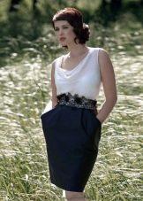 Платье футляр с белым верхом