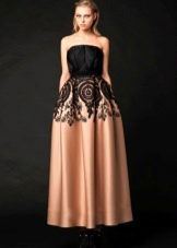 Платье А-силуэта с черным верхом