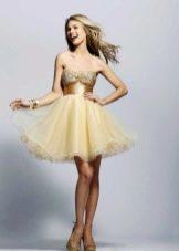 Пышное платье с органзой желтое