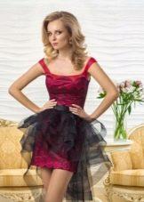Платье со съемным шлейфом из органзы
