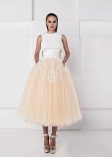 Платье миди с юбкой из органзы