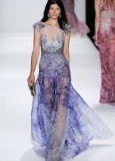 Вечернее платье с прозрачной цветной органзы