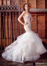 Свадебное платье русалка с юбкой из органзы