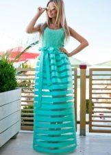 Летнее платье со съемной юбкой из органзы