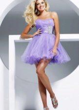 Пышное платье с органзой фиолетовое