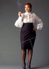 Платье для полных с завышенной талией - белый верх и темный низ