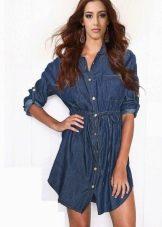 Короткое джинсовое платье сафари