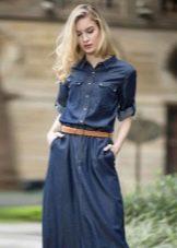 Джинсовое платье в стиле сафари