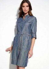 Платье в стиле сафари из джинсы
