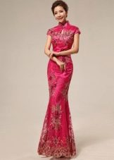 Длинное розовое платье в китайском стиле