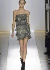 Платье серого цвета в стиле диско