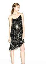 Платье в стиле диско  свободное на бретелях