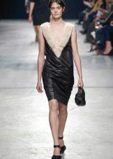 Платье в стиле рок из кожи и меха