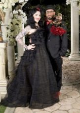 Платье свадебное в пол черное