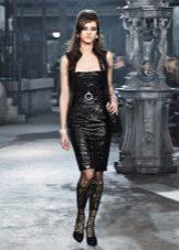 Платье в стиле рок из кожи от Шанель