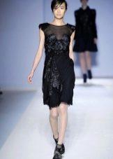 Коктейльное платье с кожаными вставками
