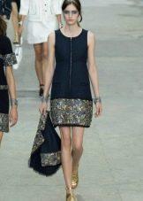 Синее короткое платье от Шанель
