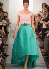 Мятно розовое платья