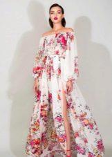 Платье с цветочным принтом с длинным рукавом с разрезом