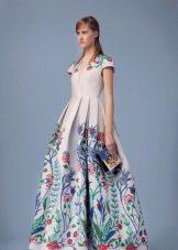Платье с цветочным принтом на юбке в пол