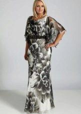 Платье с цветочным принтом для полных в пол