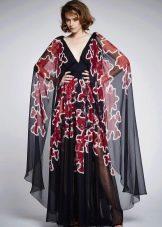 Платье в пол с длинным рукавом и цветочным принтом