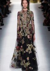 Платье с цветочным принтом с длинным рукавом черное