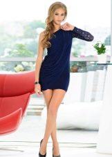 Короткое платье в греческом стиле синее