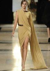 Оливковое греческое платье короткое