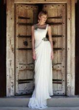 Платье на бретелях в греческом стиле свадебное