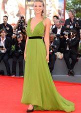 Вечернее платье в греческом стиле зеленое