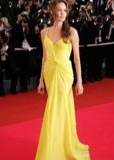 Желтое вечернее платье в греческом стиле