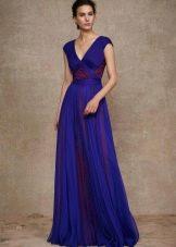 Синие греческое платье в пол со вставками