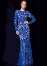 Синее гипюровое платье в пол