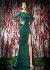 Красивое платье в пол с разрезом